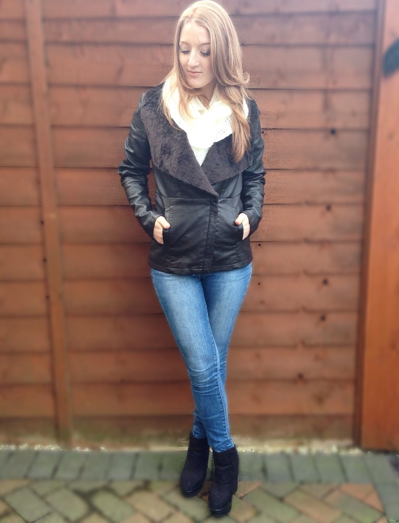 Leather Faux Fur Collar Jacket